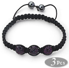 3 Pieces Round Dark Purple Rhinestone Ball and Hematite and Black Thread Woven Adjustable Drawstring Bracelets ( Total 3 Pieces Bracelets) under $ 40