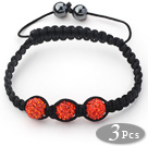 3 Pieces Round Orange Red Rhinestone Ball and Hematite and Black Thread Woven Adjustable Drawstring Bracelets ( Total 3 Pieces Bracelets)