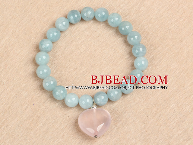 Simple Fashion Natural Round Aquamarine Beads Heart Shape Rose Quartz Charm Elastic Bracelet