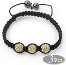 3 Pieces Round Golden Champagne Rhinestone Ball and Hematite and Black Thread Woven Adjustable Drawstring Bracelets ( Total 3 Pieces Bracelets) under $ 40