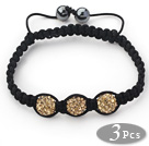 3 Pieces Round Yellow Brown Rhinestone Ball and Hematite and Black Thread Woven Adjustable Drawstring Bracelets ( Total 3 Pieces Bracelets) under $ 40
