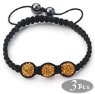 3 Pieces Round Dark Yellow Rhinestone Ball and Hematite and Black Thread Woven Adjustable Drawstring Bracelets ( Total 3 Pieces Bracelets) under $ 40