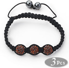 3 Pieces Round Reddish Brown Rhinestone Ball and Hematite and Black Thread Woven Adjustable Drawstring Bracelets ( Total 3 Pieces Bracelets) under $ 40
