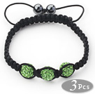 3 Pieces Round Apple Green Rhinestone Ball and Hematite and Black Thread Woven Adjustable Drawstring Bracelets ( Total 3 Pieces Bracelets)