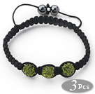 3 Pieces Round Forest Green Rhinestone Ball and Hematite and Black Thread Woven Adjustable Drawstring Bracelets ( Total 3 Pieces Bracelets) under $ 40