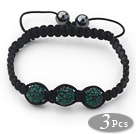3 Pieces Round Dark Green Rhinestone Ball and Hematite and Black Thread Woven Adjustable Drawstring Bracelets ( Total 3 Pieces Bracelets) under $ 40