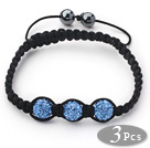 3 Pieces Round Sky Blue Rhinestone Ball and Hematite and Black Thread Woven Adjustable Drawstring Bracelets ( Total 3 Pieces Bracelets) under $ 40