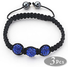 3 Pieces Round Dark Blue Rhinestone Ball and Hematite and Black Thread Woven Adjustable Drawstring Bracelets ( Total 3 Pieces Bracelets)