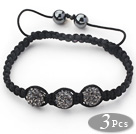 3 Pieces Round Dark Gray Rhinestone Ball and Hematite and Black Thread Woven Adjustable Drawstring Bracelets ( Total 3 Pieces Bracelets) under $ 40