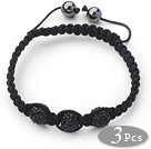 3 Pieces Round Black Rhinestone Ball and Hematite and Black Thread Woven Adjustable Drawstring Bracelets ( Total 3 Pieces Bracelets) under $ 40