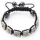 Square Shape White with Colorful Rhinestone Sheet and Hematite and Black Thread Woven Adjustable Drawstring Bracelet