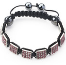 Square Shape Light Purple Color Rhinestone Sheet and Hematite and Black Thread Woven Adjustable Drawstring Bracelet