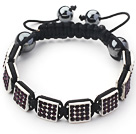 Square Shape Dark Purple Color Rhinestone Sheet and Hematite and Black Thread Woven Adjustable Drawstring Bracelet