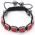 Square Shape Red Color Rhinestone Sheet and Hematite and Black Thread Woven Adjustable Drawstring Bracelet