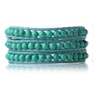Newly Trendy Design Three Strands Round Blue Turquoise Beads Leather Bracelet under $ 40