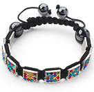Square Shape Multi Color Rhinestone Sheet and Hematite and Black Thread Woven Adjustable Drawstring Bracelet
