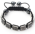 Square Shape Steel Color Rhinestone Sheet and Hematite and Black Thread Woven Adjustable Drawstring Bracelet