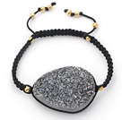 Oval Shape Gray Black Crystallized Agate Drawstring Bracelet with Golden Color Metal Beads