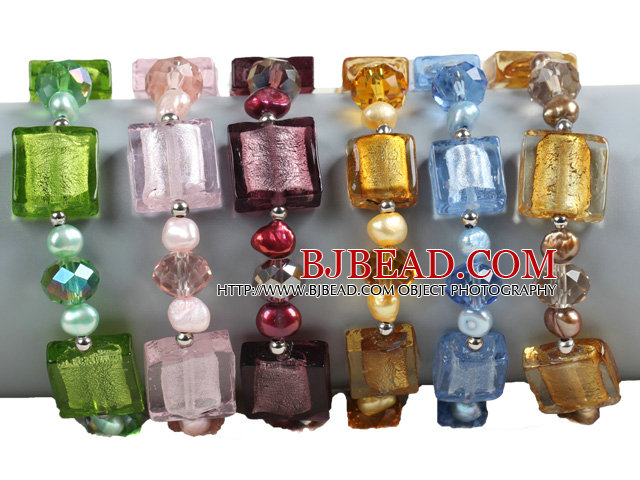 6 PCS Beautiful Multi Color Natural Pearl Colored Glaze Bead Bracelet (Random Color)