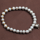 Simple Elegant Style 5-6Mm Natural Grey Freshwater Pearl Elastic/ Stretch Bracelet With Heart Charm