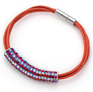 Red and White Tube Shape Rhinestone Bracelet with Orange Leather and Magnetic Clasp