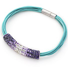 Purple and White Tube Shape Rhinestone Bracelet with Blue Leather and Magnetic Clasp
