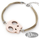 10 Pieces White Howlite Skull Bracelet with Gray Soft Leather and Extendable Chain under $ 40