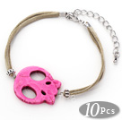 10 Pieces Dyed Hot Pink Turquoise Skull Bracelet with Gray Soft Leather and Extendable Chain under $ 40