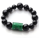 Single Strand A Grade Faceted Black Agate And Cylinder Shape Green Jade Elastic Bracelet