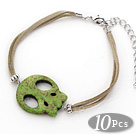 10 Pieces Dyed Green Turquoise Skull Bracelet with Gray Soft Leather and Extendable Chain under $ 40