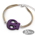 10 Pieces Dyed Dark Purple Turquoise Skull Bracelet with Gray Soft Leather and Extendable Chain under $ 40