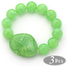3 Pieces Apple Green Color Round Acrylic Beaded Stretch Bangle Bracelets