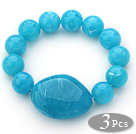3 Pieces Blue Color Round Acrylic Beaded Stretch Bangle Bracelets