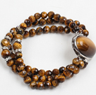 Fashion Three Strand Faceted Tiger Eye Stone Beads Bracelet