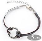 5 Piezas forma redonda Metal anillo ajustable de cuero pulseras con cuero marrón y blanco