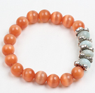 Summer Beach Jewelry Orange Cats Eye Stone And Amazon Stone Beaded Elastic/ Stretch Bracelet