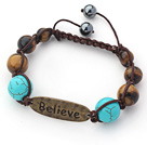 Brown Series Round Tiger Eye and Turquoise Graduated Adjustable Drawstring Bracelet under $ 40
