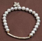 Simple Elegant Style 5-6Mm Natural Grey Freshwater Pearl Elastic/ Stretch Bracelet With Alloyed Butterfly Charm