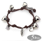 5 Pieces Brown Leather Bracelets with Heart Shape Metal Accessories and Metal Clasp