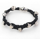 Black Leather Woven Bracelets with Heart Shape Metal Accessories under $ 40