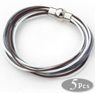 5 Pieces White and Gray and Brown Leather Bracelets with Magnetic Clasp