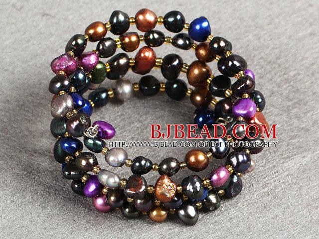 prevailing Multi Color Natural Freshwater Pearl 3 Strand Bangle Bracelet