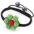 2013 Summer New Design Apple Green and Red Rhinestone Flower Adjustable Drawstring Bracelet under $ 40