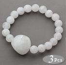 3 Stuks wit acryl Stretch Bangle armband (totaal 3 stuks)
