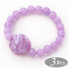 3 Stuks violette kleur acryl Stretch Bangle armband (totaal 3 stuks)