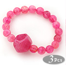 3 Pieces Hop Pink Acrylic Stretch Bangle Bracelet (Total 3 Pieces)