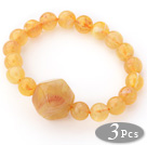 3 Pieces Light Yellow Color Acrylic Stretch Bangle Bracelet (Total 3 Pieces)