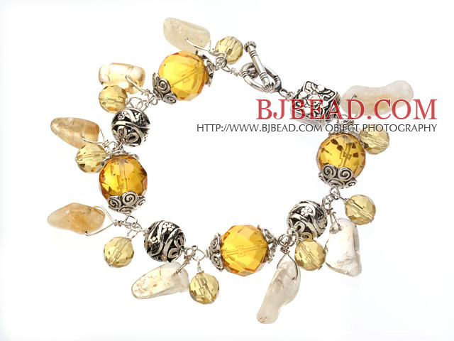 Vintage Style Bright Citrine Tibet Silver Ball Charm Bracelet With Toggle Clasp