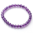 2014 Popular Style A Grade Natural Round 6mm Amethyst Elastic Bracelet