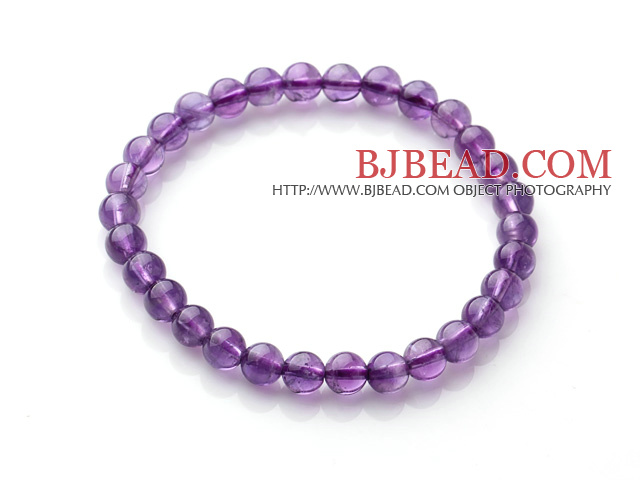 2014 Popular Style A Grade Natural Round 6mm Amethyst Elastic Bracelet